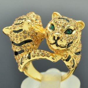Brown Swarovski Crystals H-Quality Glitzy 2 Tiger Cocktail Ring Size USA:8#