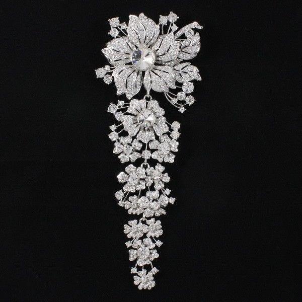 """Rhinestone Crystals Long Clear Flower Brooch Broach Pin 7.9"""" Wedding 4704"""