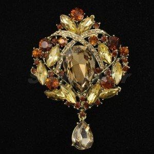 "VTG Style Flower Brooch Pin Teardrop Brown Rhinestone Crystals 3.5"" 4082"