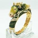 Rhinestone Crystal Green Enamel Horse Bracelet Bangle Cuff Women's Jewelry 2230L