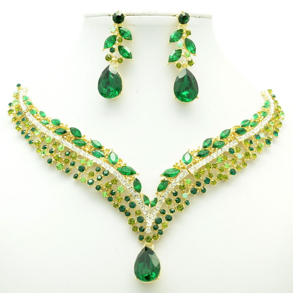 New Design Green Tear Drop Flower Necklace Earring Set Rhinestone Crystals 6116