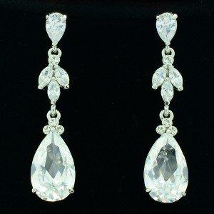 Clear Rhinestone Crystals Wonderful Earring for Bridal Wedding Dangle Drop 21410