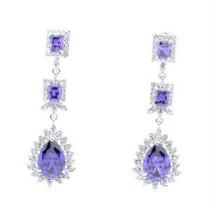 Purple Zircon Dangle Pierced Flower Earring Swaroski Crystals 10674