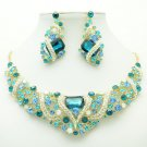 Cute Flower Necklace Earring Set Blue Rhinestone Crystal For Spring Jewelry 6103