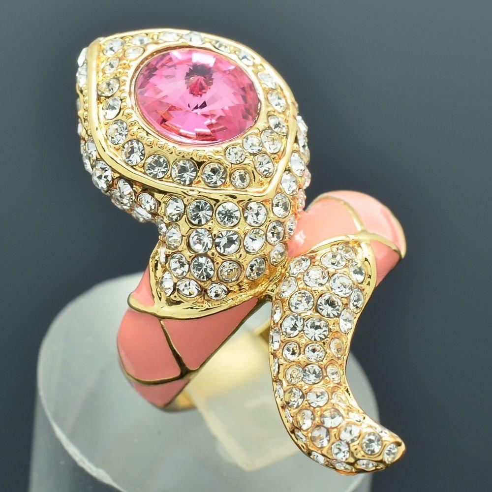 New Swarovski Crystals Pink Enamel Animal Snake Cocktail Ring Size 7# SRA2173-0