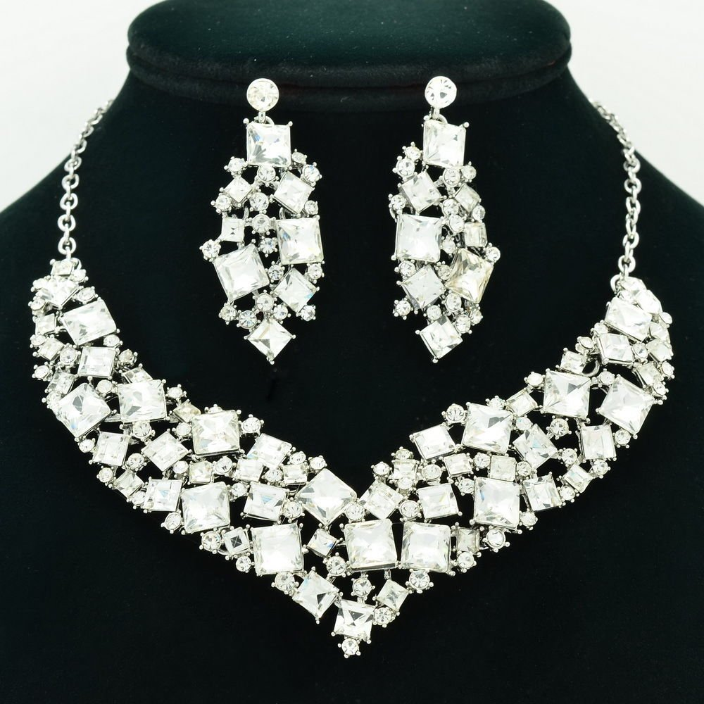 New Gift Necklace Earring Set Clear Rhinestone Crystal Accessories Jewelry 6696