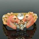 Rhinestone Crystal 2 Pink Enamel Steed Horses Bracelet Bangle Cuff Jewelry 2232L