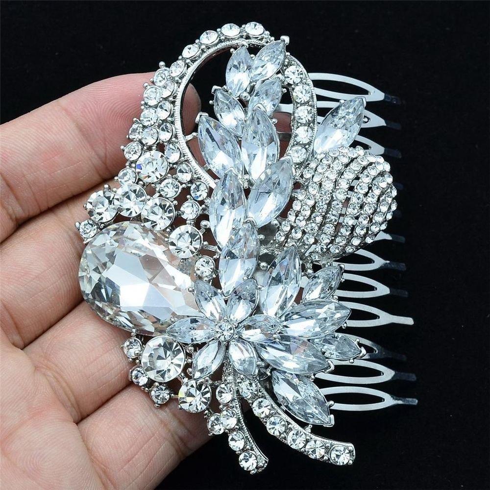 Smart Bridal Wedding Jewelry Leaf Flower Hair Comb Clear Rhinestone Crystal 4622