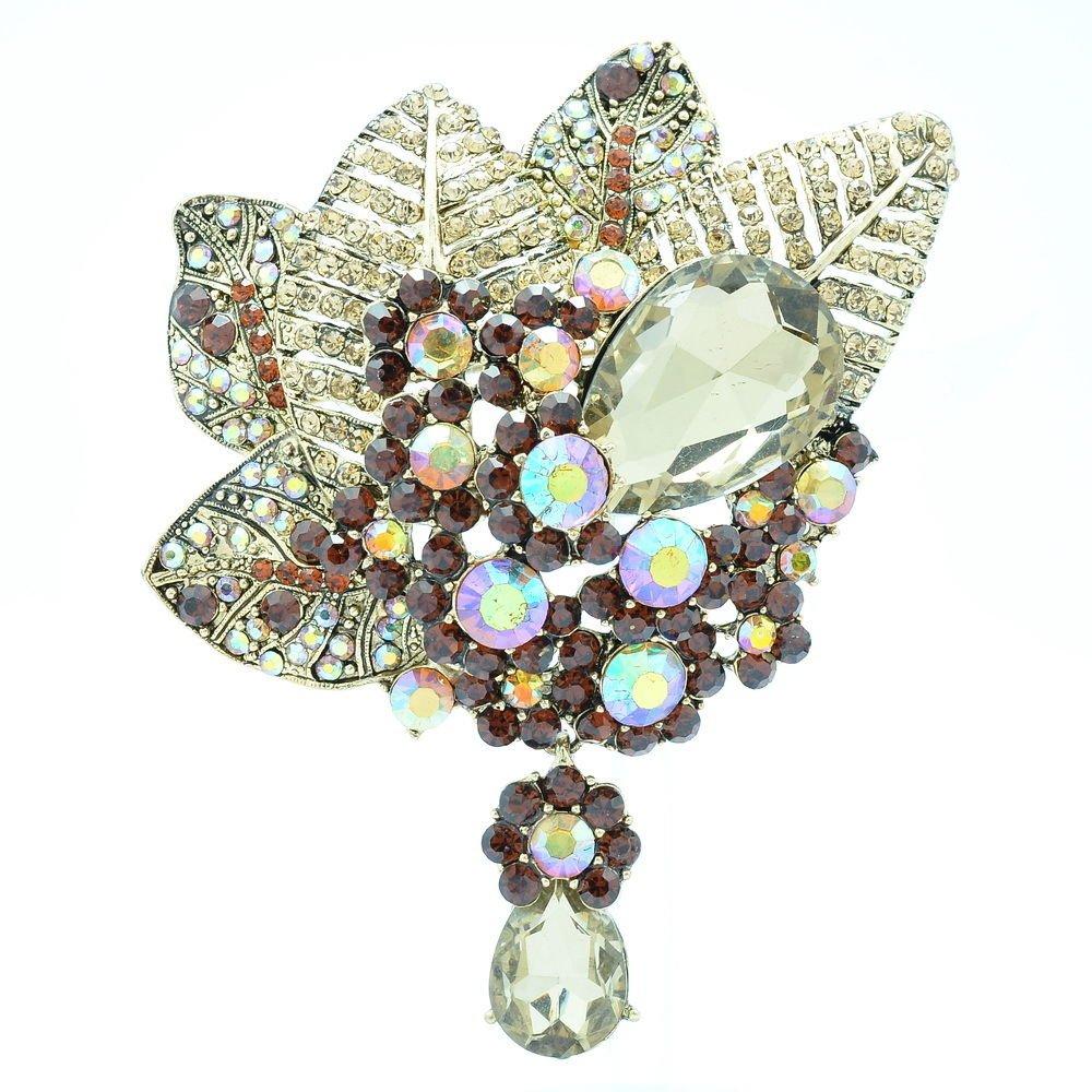 Bouquet Leaf Flower Brooch Broach Pin W/ Drop Brown Rhinestone Crystals 6408