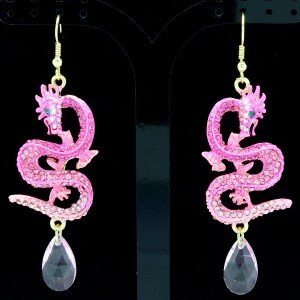 Pink Rhinestone Crystals Dazzling Animal Pierced Dragon Dangle Earring Jewelry
