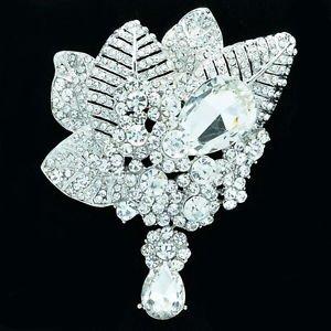 Wedding Bouquet Leaf Flower Brooch Pin W/ Drop Clear Rhinestone Crystals 6408