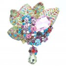 Bouquet Leaf Flower Brooch Broach Pin W/ Drop Mix Rhinestone Crystals 6408