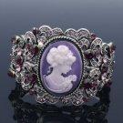 Vintage Style Rhinestone Crystals Purple Relief Bracelet Bangle