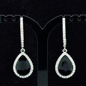 Women Black Water Drop Pierced Dangle Earring Jewelry Rhinestone Crystals 214114