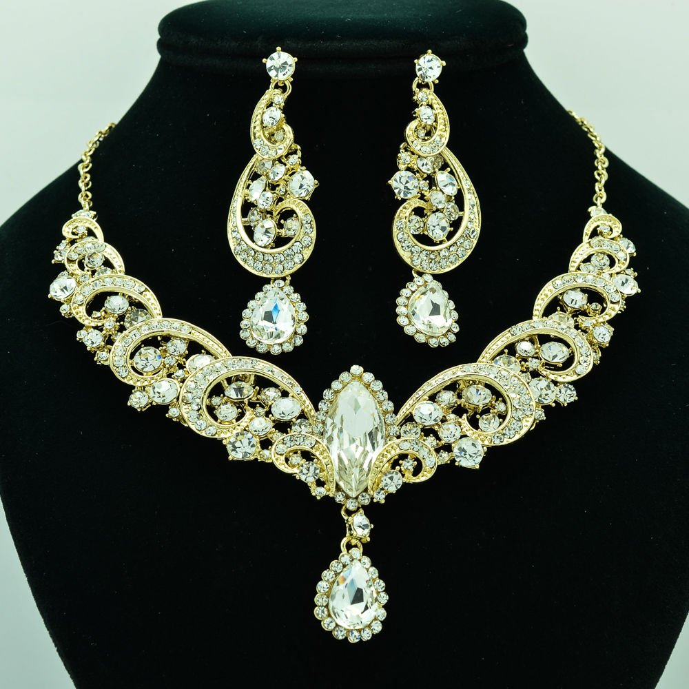Party Clear Rainbown Rhinestone Crystal Flower Necklace Earring Jewelry Set 6471