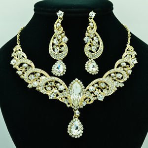 Party Clear Gold Rhinestone Crystal Flower Necklace Earring Jewelry Sets 6471