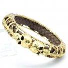 Vintage Style Swarovski Crystals Brown Leather Skull Bracelet Bangle Cuff