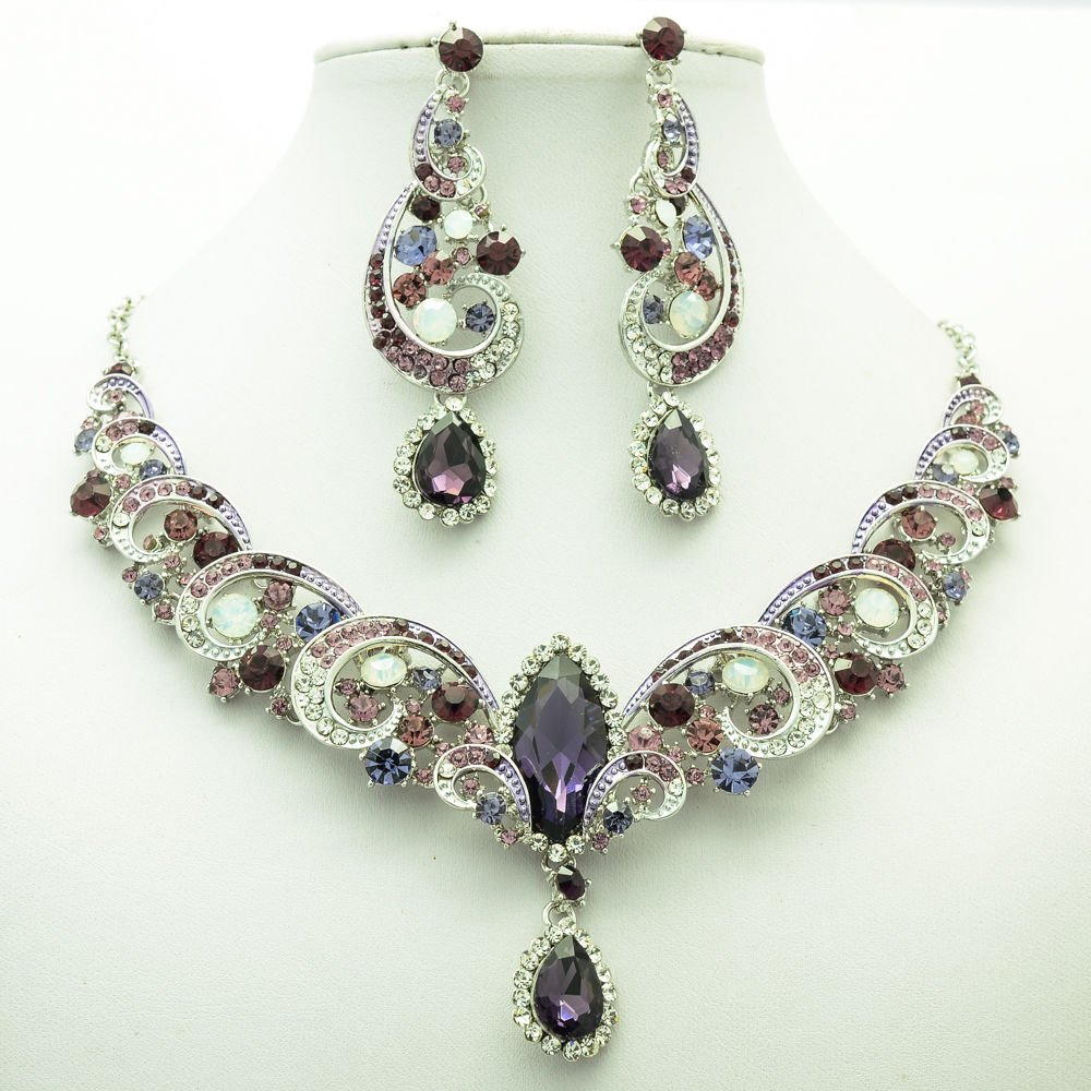 Prom Party Purple Rhinestone Crystal Flower Necklace Earring Jewelry Sets 6471