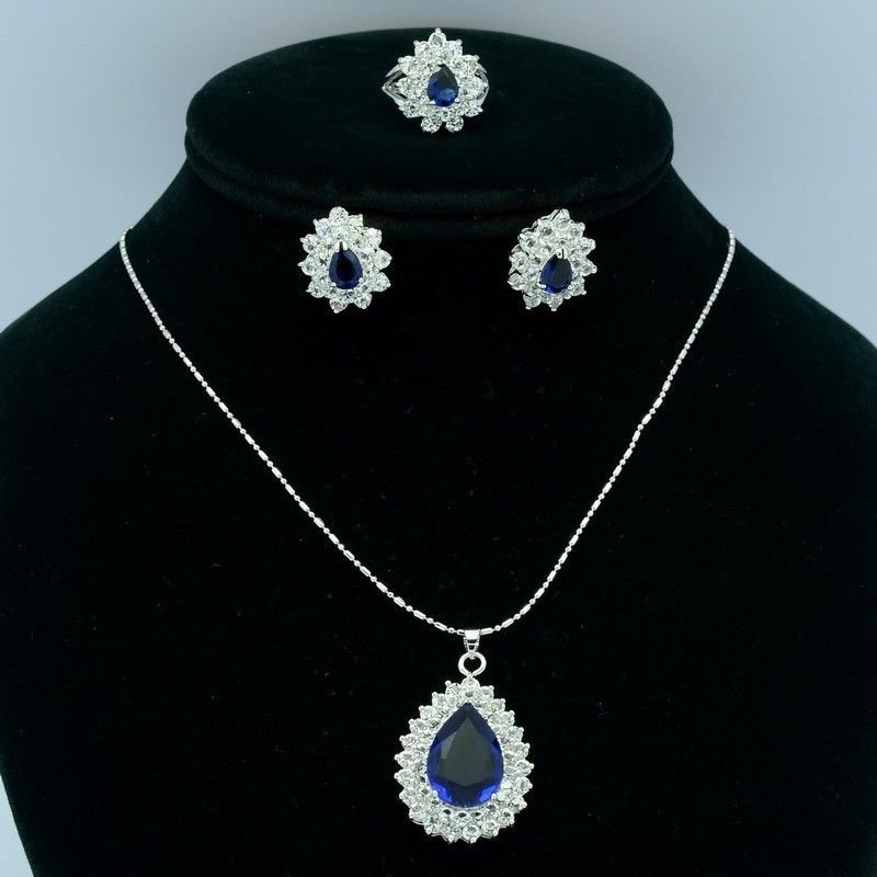Fabulous Blue Zircon Flower Necklace Earring Ring Set Swarovski Crystals S0970