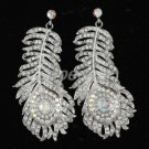 Fashion Clear Rhinestone Crystals Peacock Feather Earring Pierced Wedding Bridal