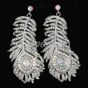Fashion Clear Rhinestone Crystals Peacock Feather Earring Pierced Wedding Bridal