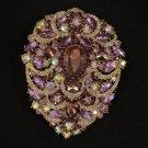 "Rhinestone Crystals Big Teardrop Purple Pendant Flower Brooch Pin 4.9"""