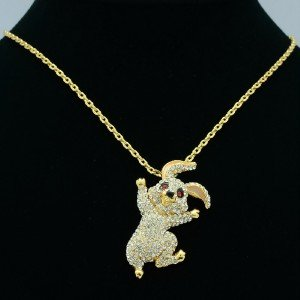 Swarovski Crystals Brilliant Cute Bunny Rabbit Necklace Pendant High Quality