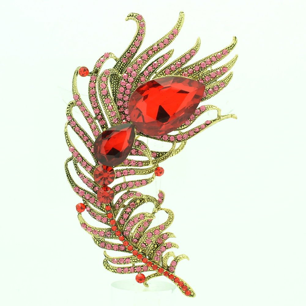 Peacock Feather Brooch Broach Pins For Women Red Drop Rhinestone Crystal 5038