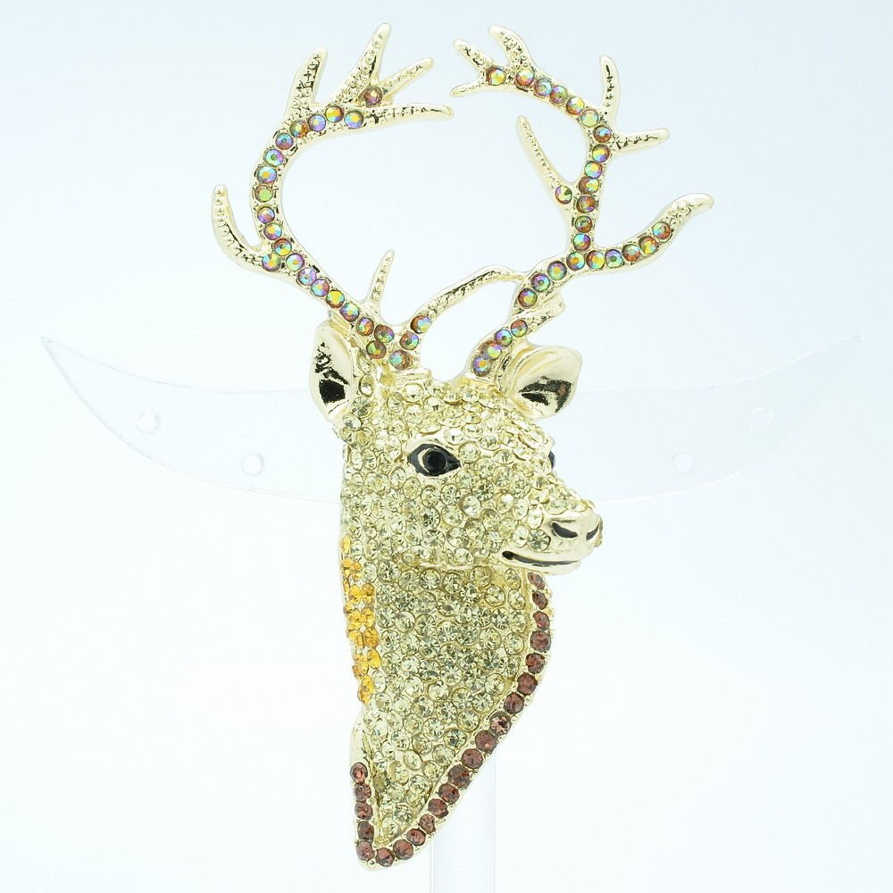 Rhinestone Crystal Animal Head Pink Deer Brooch Broach Pins Accessories FA3181