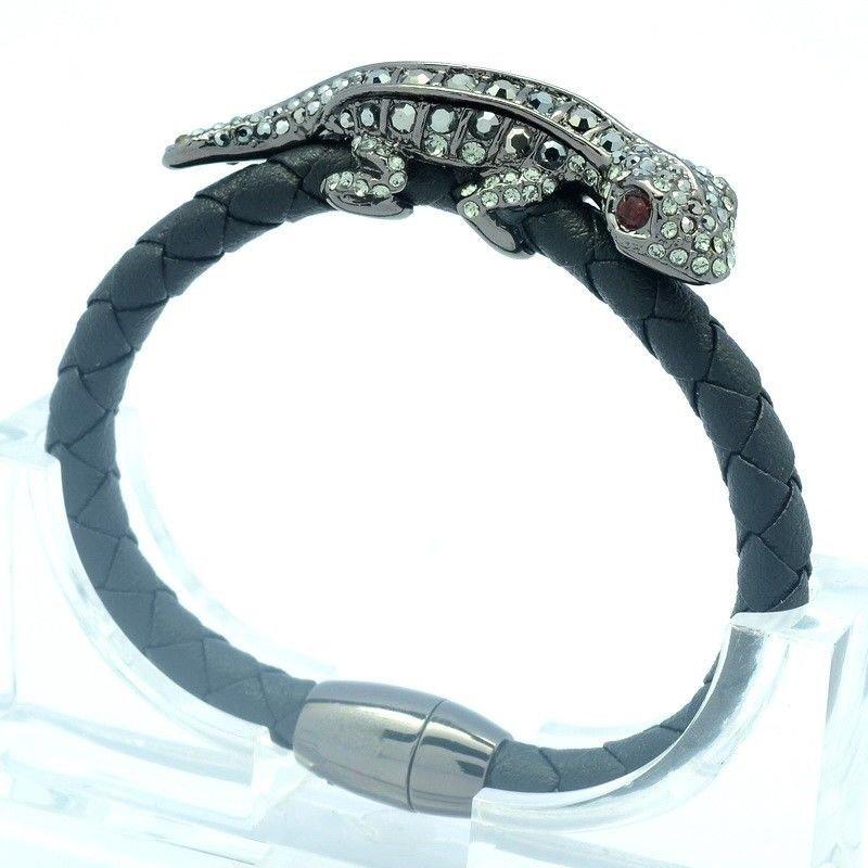 Synthetic Leather Gecko Lizard Bracelet Bangle Black Swarovski Crystals  SK1737