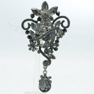 Art Deco Flower Teardrop Pendant Brooch Pin Black Rhinestone Crystal 6301