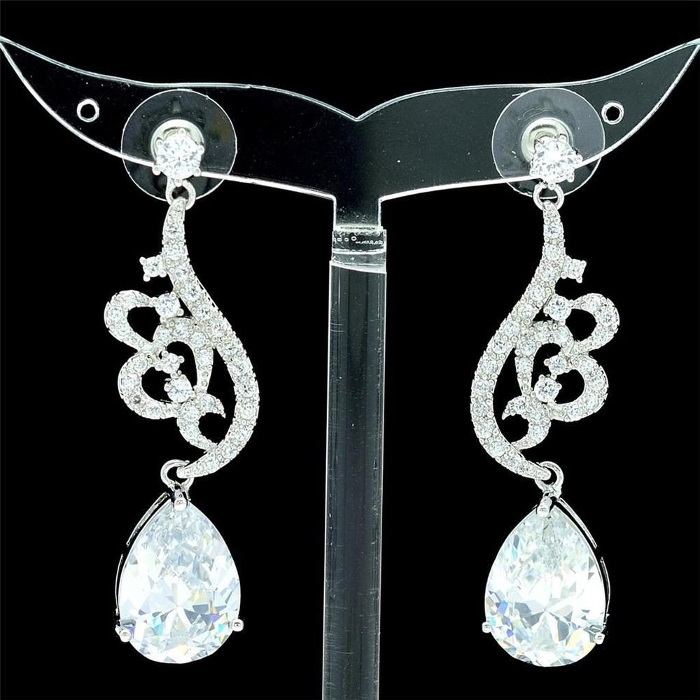 Chic Clear Swarovski Crystals Zircon Drip Flower Pierced Earring Dangle W/ 01624