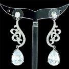 Chic Clear Swarovski Crystals Zircon Drip Flower Pierced Earring Dangle W/ 01624