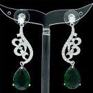 Swarovski Crystals Green Zircon Drip Flower Pierced Earring Dangle W/ 01624