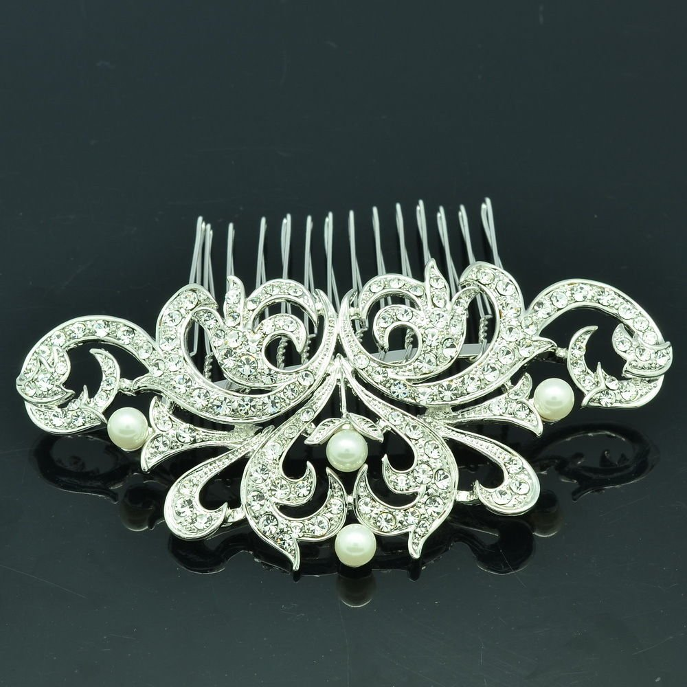 Rhinestone Crystal Faux Pearl Flower Comb Tiara For Wedding Bridal Jewelry 2222R