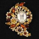 """Vintage Style Brown Flower Bud Brooch Broach Pin 3.1"""" Rhinestone Crystals 4883"""