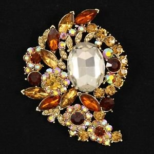 "Vintage Style Brown Flower Bud Brooch Broach Pin 3.1"" Rhinestone Crystals 4883"