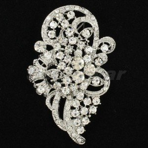 "2.9"" Chic Birdal Wedding Flower Brooch Broach Pin Clear Rhinestone Crystals 5630"
