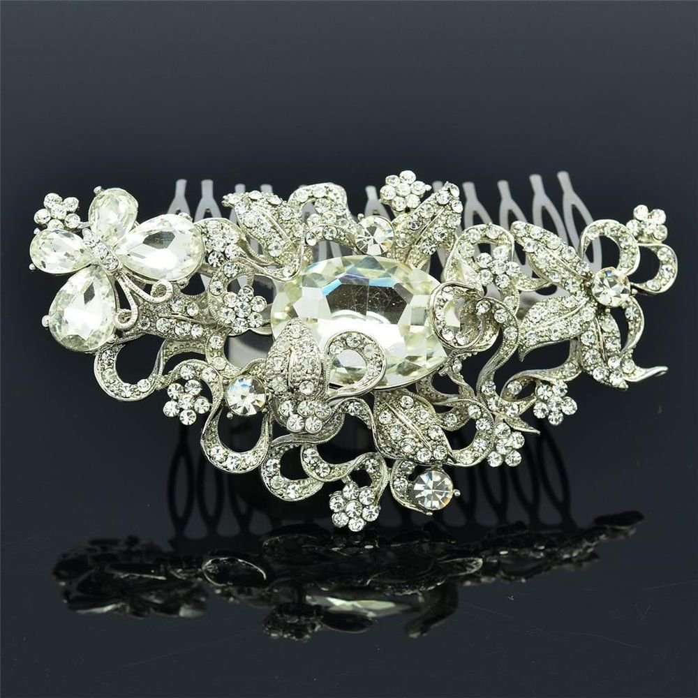 Clear Butterfly Flower Hair Comb Women's Bride Jewelry Rhinestone Crystals 4907