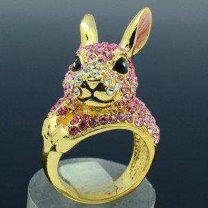 18KGP Cute Pink Bunny Rabbit Cocktail Ring Size 8# w/ Swarovski Crystals