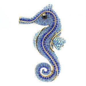 Cute Animal Sea Horse Brooch Pin W/ Blue Rhinestone Crystals