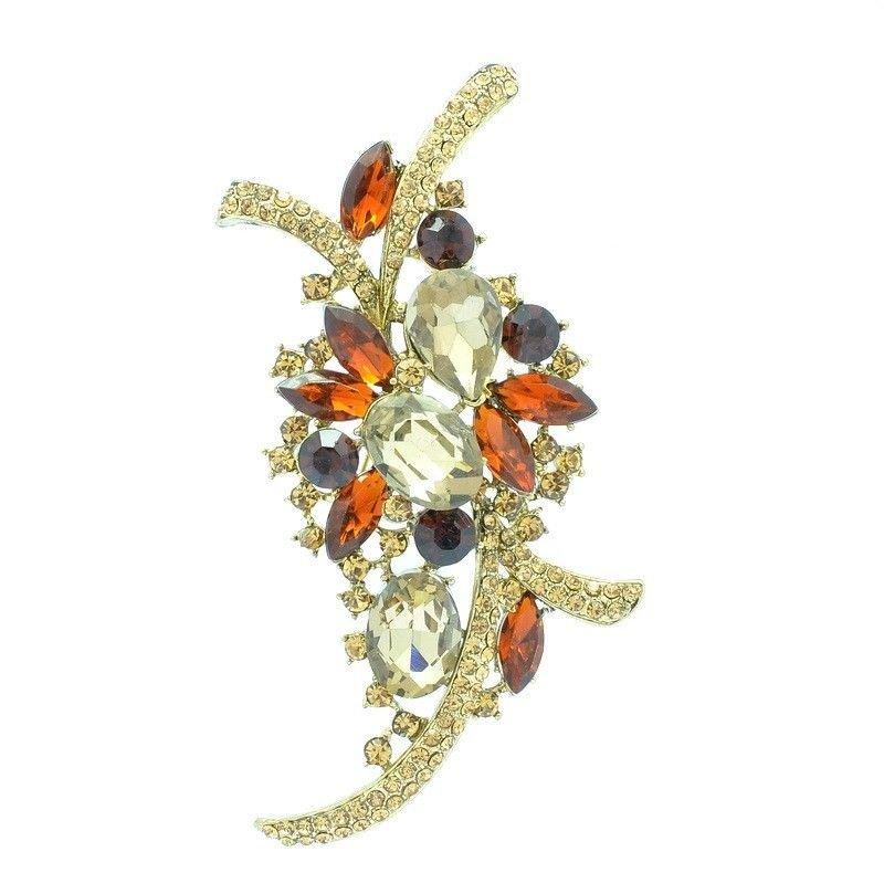 Women Jewelry Flower Brooch Broach Pin Brown Rhinestone Crystal For Spring 4486