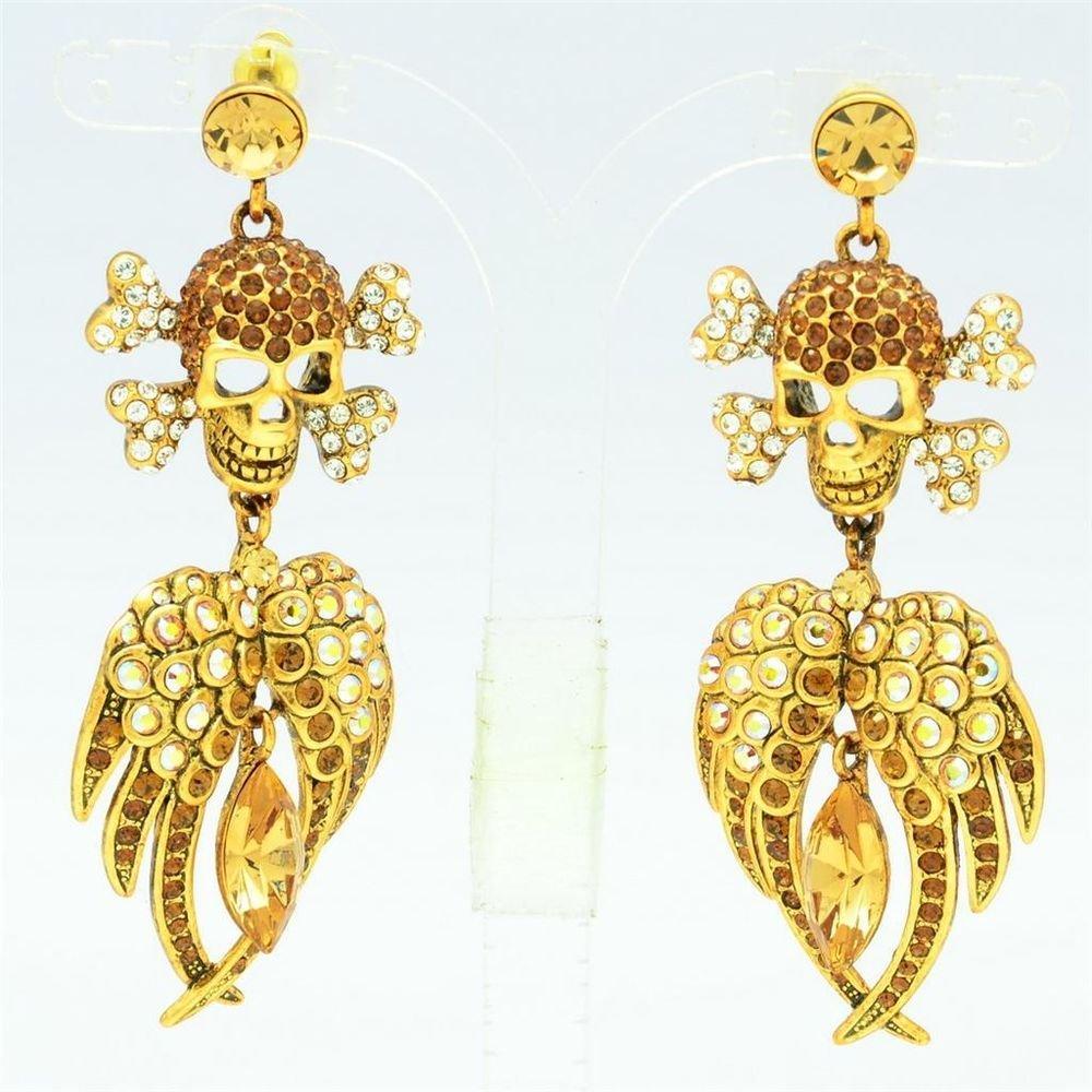 H-Quality Brown Wings Swarovski Crystal Skeleton Skull Pierced Earring SEA0860-1