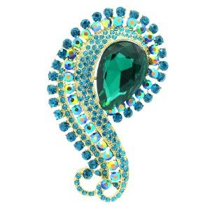 Gorgeous Flower Brooch Pin Emerald Rhinestone Crystals Floral 6027
