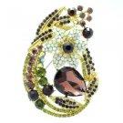 Vintage Leaf Flower Brooch Broach Pin Purple Rhinestone Crystals Tear Drop 6020