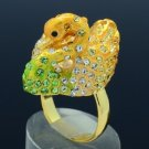 18KGP Lovely Yellow Swan Cocktail Ring Sz Adjustable W/ Swarovski Crystals