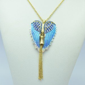 Vintage Enamel Angel Wings Necklace Pendants W/ Blue Rhinestone Crystals