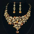 Vintage Lots Star Skull Necklace Earring Jewelry Sets Brown Swarovski Crystal