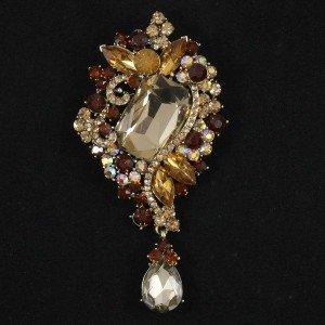 Trendy Drop Brown Rhinestone Crystals Flower Brooch Broach Pins For Women 4823
