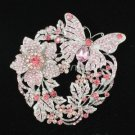 Briadal Garland Butterfly Flower Brooch Pin Pendant Pink Rhinestone Crystal 4489